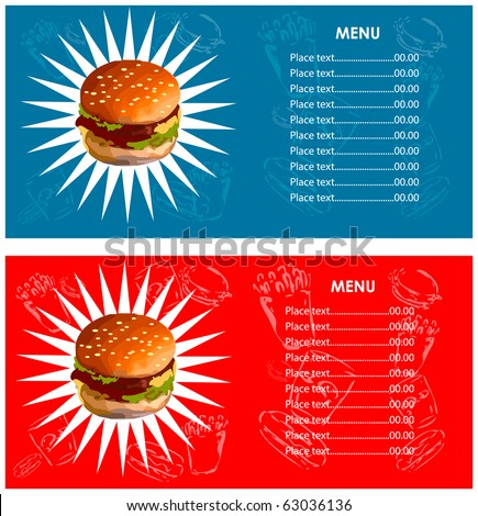 Menu fast food cafe Hamburger, french fries, cola icons background - stock vector