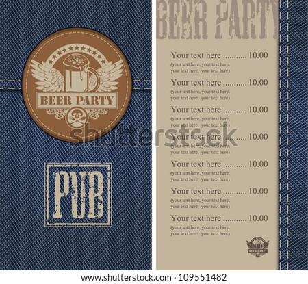 menu for a beer bar on denim - stock vector