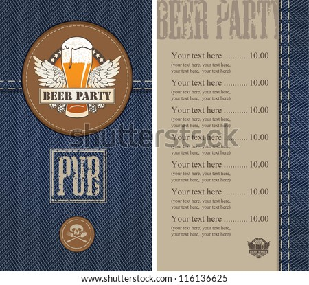 menu for a beer on a background of denim