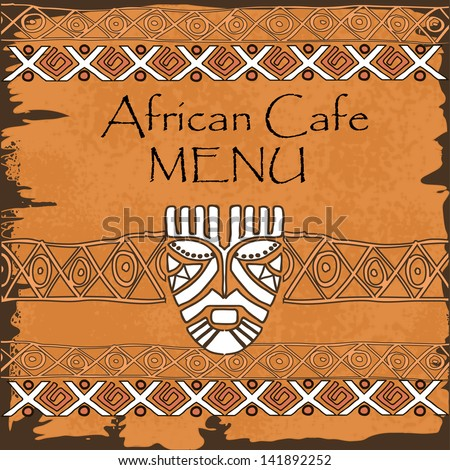Menu for African restaurant, cafe, bar, coffeehouse