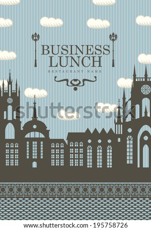 menu for business lunches with the old town and a street lamp - stock vector