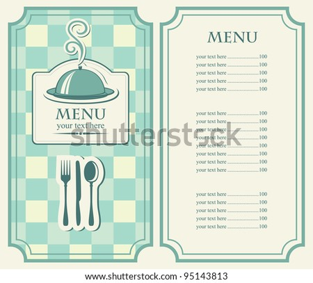 menu for cafe with covered tray and steam - stock vector