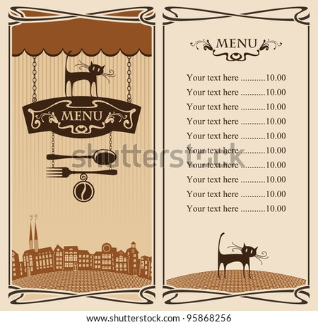Menu for City Cafe with cat on sign - stock vector