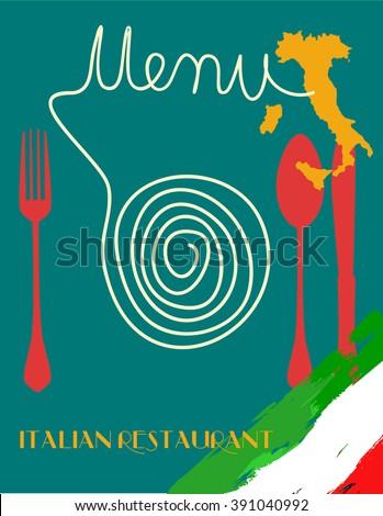 Menu for Italian restaurant, free copy space - stock vector