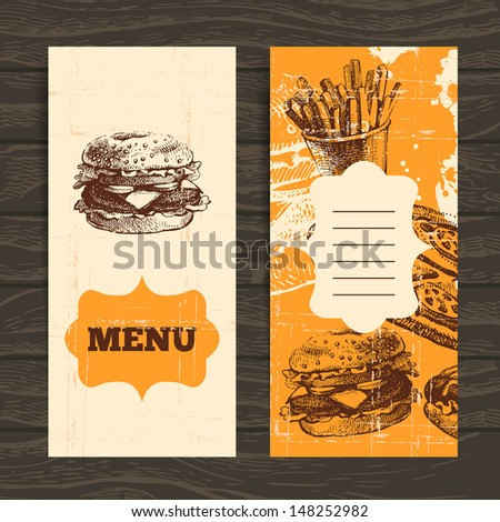 Menu for restaurant, cafe, bar, coffeehouse. Vintage  background with hand drawn illustration - stock vector