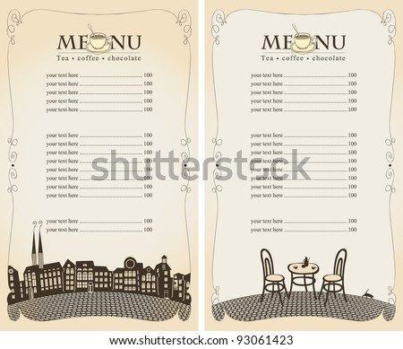 menu for summer cafe with city and the bridge - stock vector