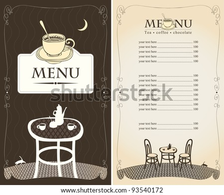 menu for the night cafe with moon and cat