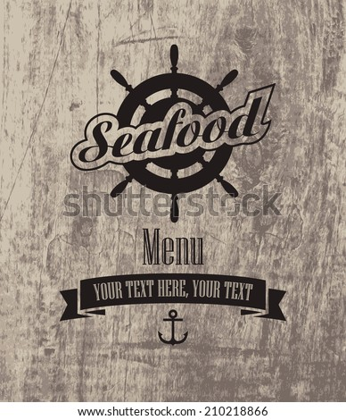 menu for the restaurant with seafood on the background of wooden boards - stock vector