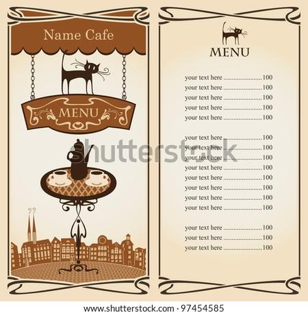 Menu for Urban Tea restaurant with cat - stock vector