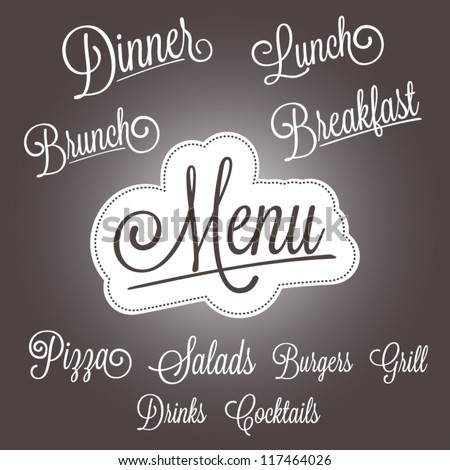 Menu headlines, hand lettering set - stock vector