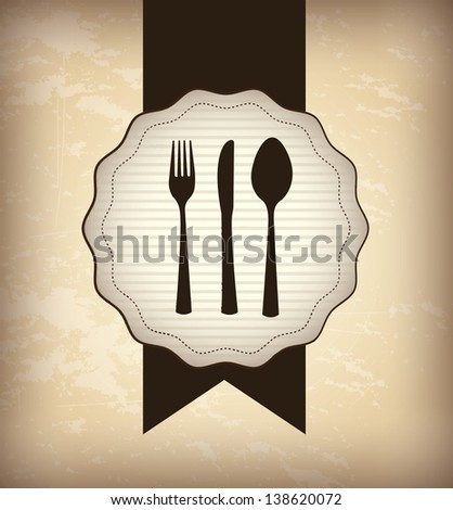 Menu icons over beige and brown background vector illustration