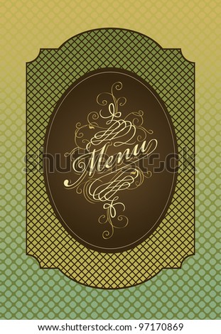 menu in retro style on green background - stock vector