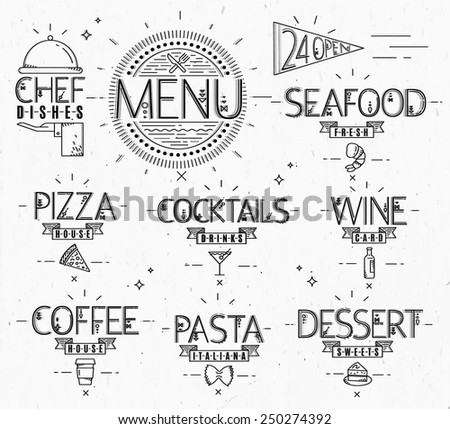 Menu in vintage modern style lines drawn with symbols pizza, pasta ...