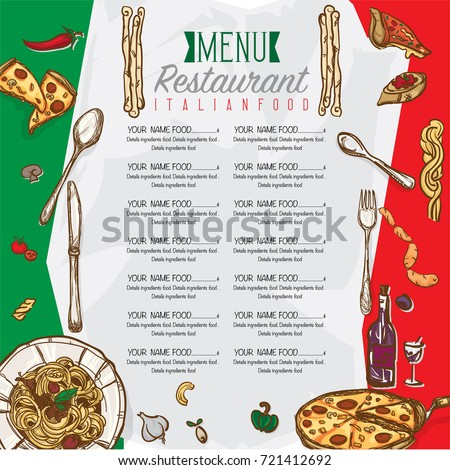 Menu Italian Food Restaurant Template Design Stock Vector