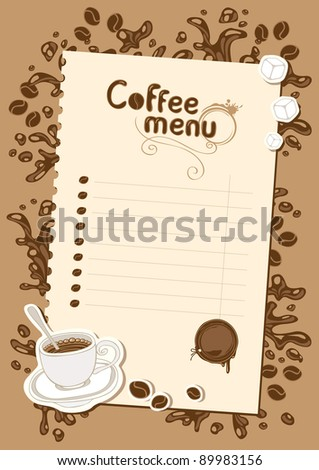 menu list for hot chocolate and coffee