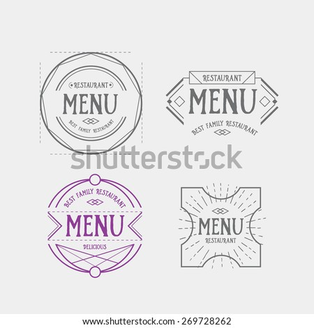 Menu Logo Template Vintage Geometric Badge Vector Food Design