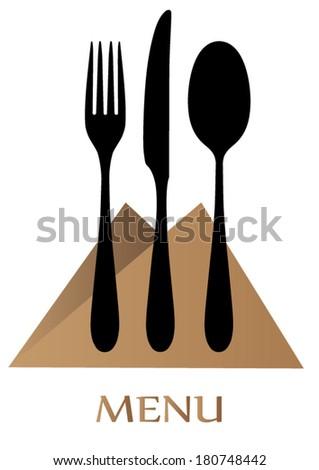 Menu of food card, spoon, fork, knife - stock vector
