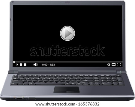 menu of player on screen laptop - stock vector