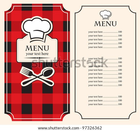 menu on black red background with chef's hat - stock vector