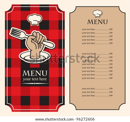 menu on black red background with fork in hand - stock vector