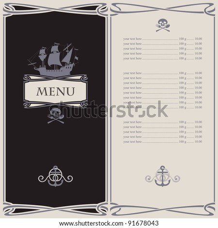 menu on the pirate theme - stock vector