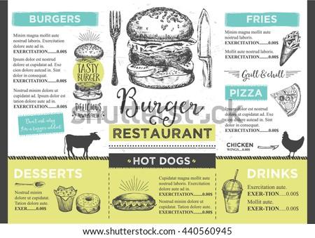 Menu Place Mat Food Restaurant Brochure Stock Vector