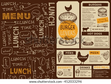 Menu Placemat Food Restaurant Brochure Menu Stock Vector 450359671
