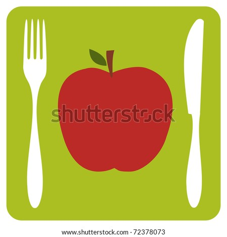 Menu restaurant icon. One red apple with cutlery silhouettes on lemon green background. Vector available. - stock vector