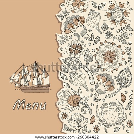 menu, sea food, fish restaurant - stock vector