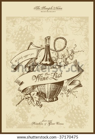 menu series: wine list - stock vector