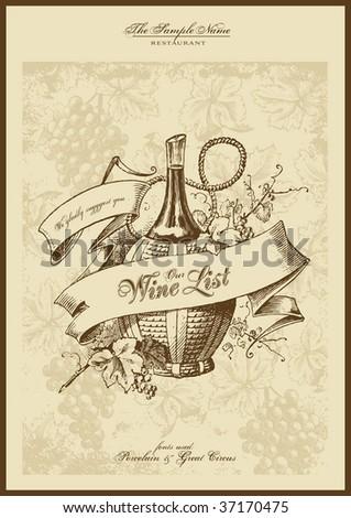 menu series: wine list - stock vector