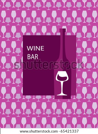menu template for bar. bottle of wine and glass on pink background -2