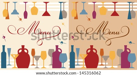Menu template for bar or restaurant with dishware and bottles. Vector version also available in gallery