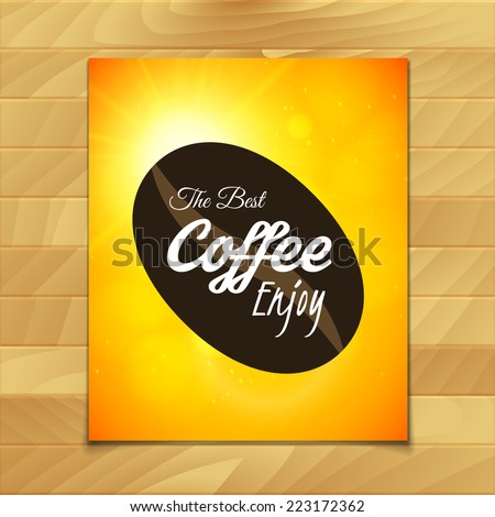 Menu template for restaurant, the best coffee enjoy, use for cafe, bar of coffeehouse, vector illustration - stock vector