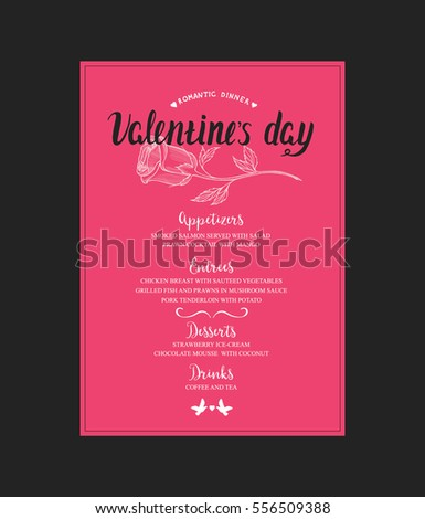Menu Template Valentine Day Dinner Flyer Stock Vector