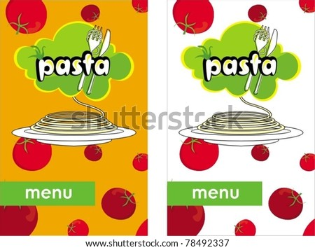 Menu template with pasta and tomato - stock vector