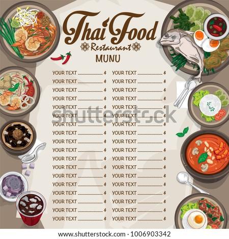 Menu thai food design template graphic vector de stock1006903342 menu thai food design template graphic forumfinder Images