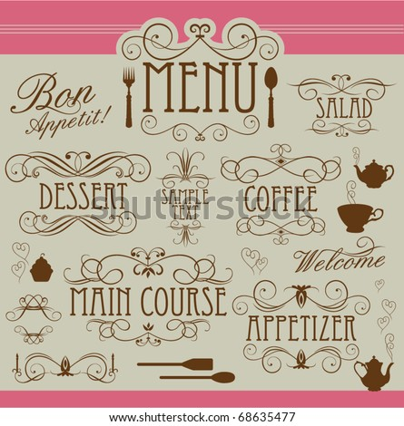 Menu vintage ornaments - stock vector