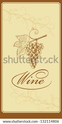 Menu wine list with grape vine - stock vector