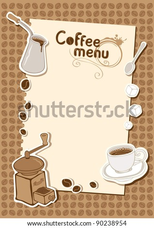 menu with a cup of sugar and coffee grinder - stock vector