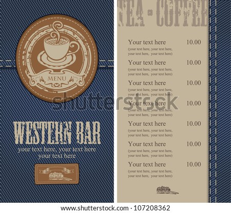 menu with a cup on the background of denim - stock vector