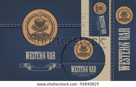 menu with cup of coffee on background of denim - stock vector