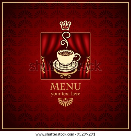 menu with cup of coffee with scenes - stock vector