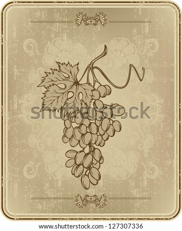 Menu with grapes, hand-drawing. Vector illustration.