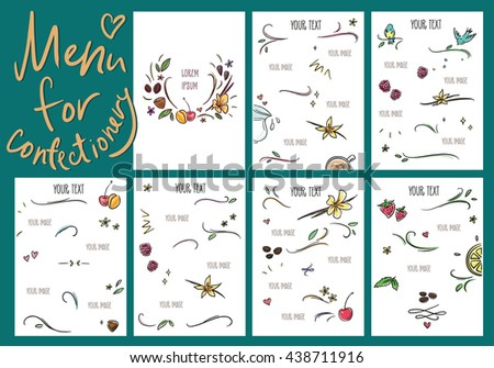 Menu with pictures of fruits and berries for the confectionery, cafe, smoothie bar. - stock vector