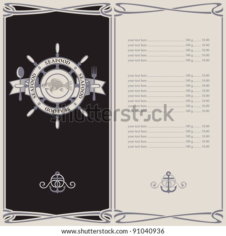 menu with the wheel anchor and fish skeleton - stock vector