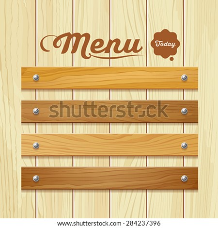 Menu wood board design background, vector illustration - stock vector