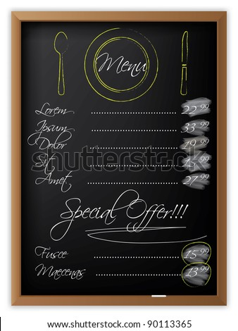 Menu written on a blackboard and with drawn dishes - stock vector