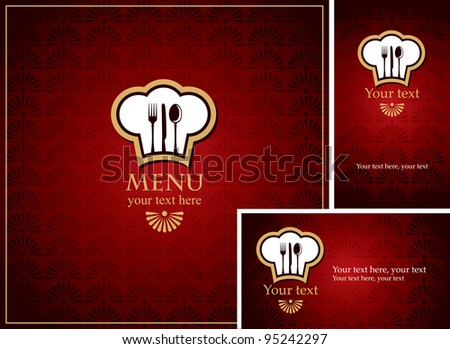 menus and business cards for restaurant with red background - stock vector