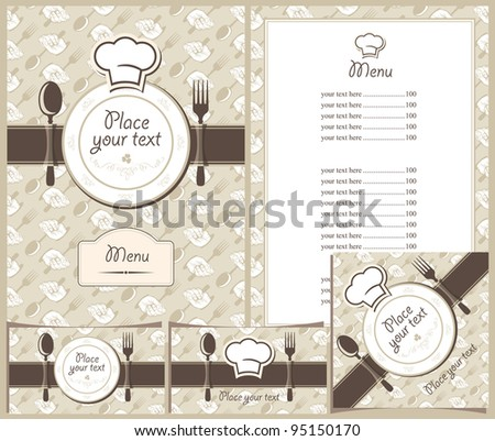 menus, business cards and stands cafe or restaurant - stock vector